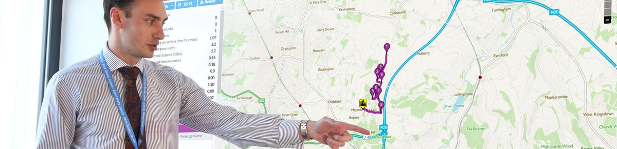Shane Bushell at Kent County Council pointing to a QRoutes map