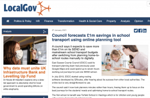 Screenshot of article on Local Gov